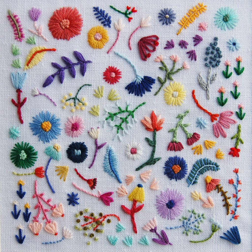 embroidery, hand sewing, sewing, flowers